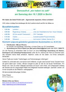 """Busaufruf: Demo - """"Wir haben es satt"""" 18.1.2020"""